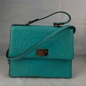 Kate Spade turquoise croc embossed leather